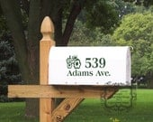 Mail Box Number with Tractor Vinyl Decal