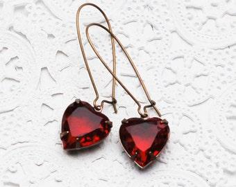 Red HEART Earrings  Rhinestone LOVE Ruby Red  Vintage Glass Jewel Crystal Garnet Valentine Earring