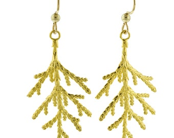 Large Gold Juniper Leaf Earrings // Cast from Nature