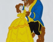 """Embroidered Iron On Applique  """"Princess and Beast"""""""