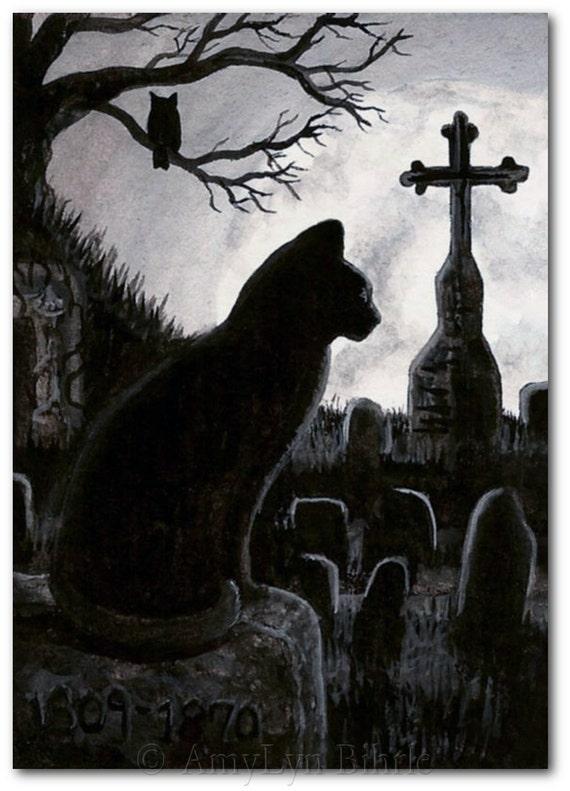 Black Cat Society Full Moon Cemetery Owl By Amylynbihrle