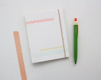 Letterpress Notebook, Mini Journal, Jotter - Abstract Lines
