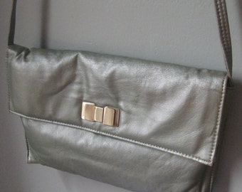 Seafoam Green Gray Clutch with Gold Bow Detail and Crossbody Strap