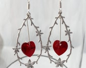 Woodland twig and flowers loop love earrings with hanging red Swarovski crystal hearts- Sterling silver hooks- Valentine's jewelry