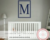 Modern Single Initial Monogram Wall Decal with Double Rectangle Frame Border - Personalized Decal Family Name 32H x 22W FI0037