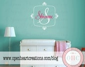 Girl Initial and Name Wall Decal with Square Border 28H x 28W FN0339