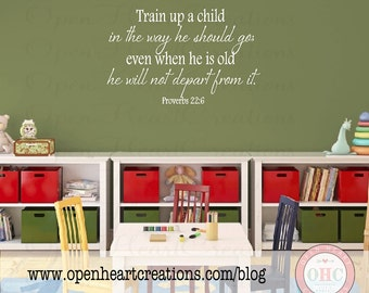 Christian Baby Nursery Vinyl Wall Decals - Train Up a Child in the Way He Should Go 20H X 32W Ba0212