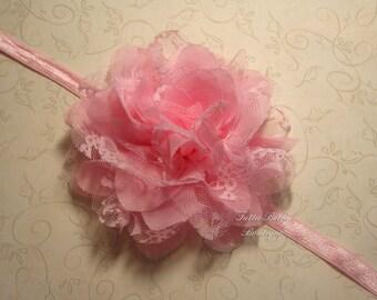Pink Lace & Chiffon Flower Headband - Large Lace Flower, Baby Headband Newborn Headband Toddler Headband