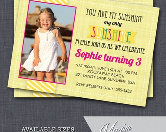 DIY Printable Invitation - You Are My Sunshine Birthday Invitation, Party Invitation....by Maxim Creative Invites
