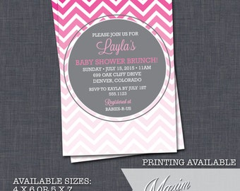 DIY Printable Invitation - Chevron Baby Shower Invitation, Ombre Baby Shower, Party Invitation....by Maxim Creative Invites
