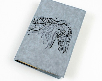 Horse Paperback Book Cover, TRADE Size, Machine Embroidered in Black and Gray on Gray Cotton Fabric