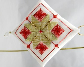 Beaded Embroidery Christmas Ornament 207