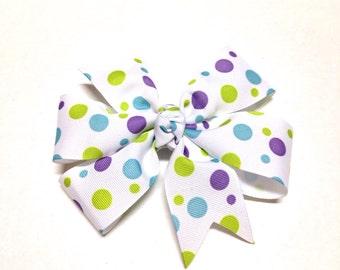 Hair Bow / Barrette / White Bow / Hair Clip / Hair Accessories / Hair Bow / Hair Bow for Girls / Hair Bow for Teens / Polka Dot Hair Bow