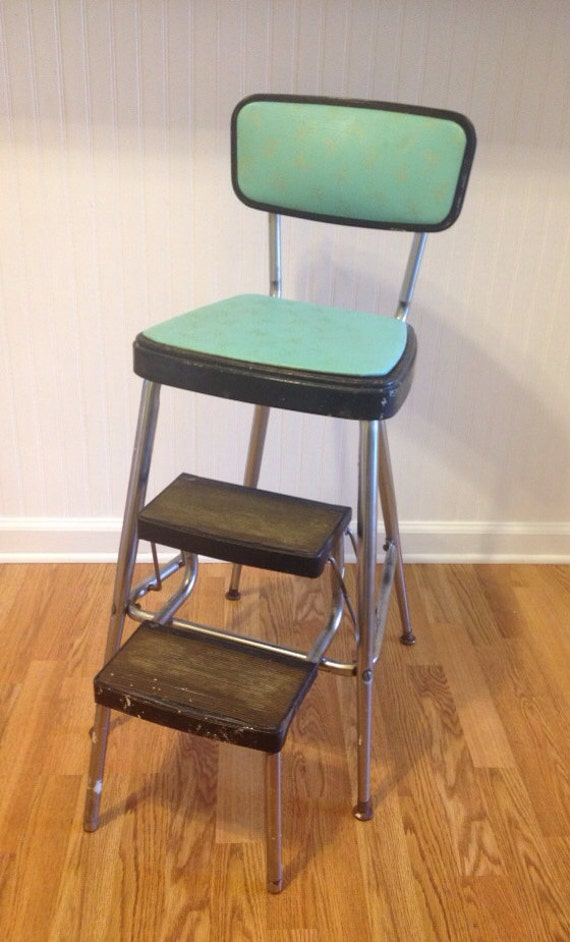 Vintage Mid Century Retro Kitchen Stool Turquoise And Black