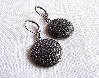Purple Swarovski crystal earrings - oxidized silver earrings - swarovski crystal earrings - E A R R I N G S 020