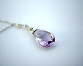 Pink Amethyst Necklace in Sterling Silver, Large Briolette Focal Pendant, Lilac & White Freshwater Pearls