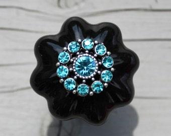 Crystal Ceramic Drawer Knobs in Black MORE COLORS possible (CK34 B)