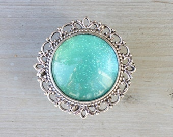 Glitter Drawer Knobs Turquoise - Aqua with SILVER or BRASS Hardware (MK142 #6)