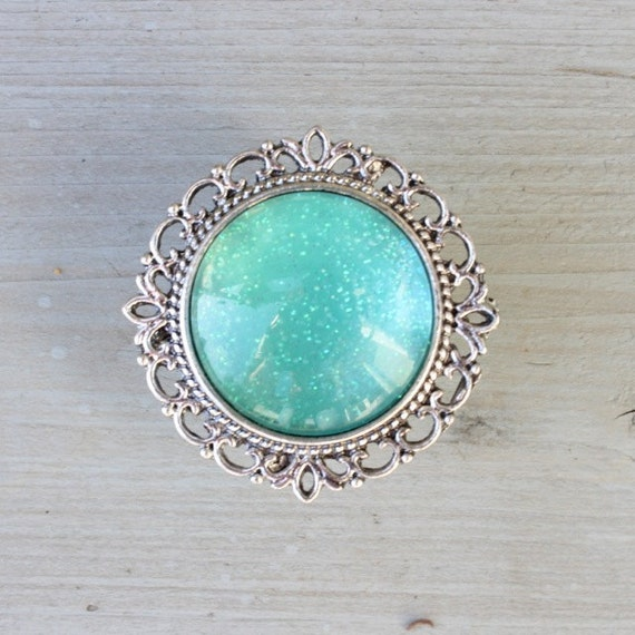 Glitter drawer knobs turquoise aqua with silver or brass for Turquoise door knobs