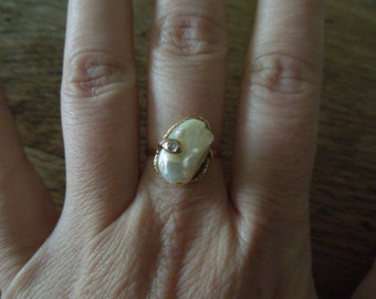 Victorian Pearl and Diamond Snake Ring