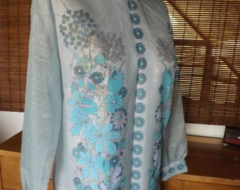 Vintage 60s Psychedelic Floral Sky Blue Sheer Sleeve Alfred Shaheen Hawaiian Hostess  Maxi Dress L Free Shipping