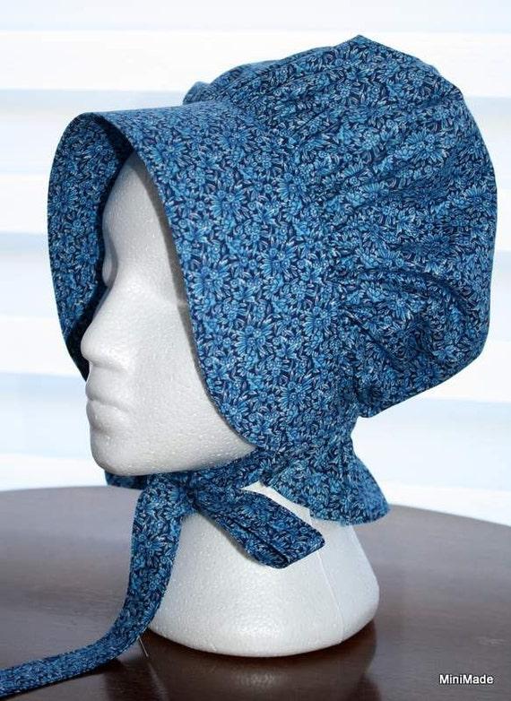 Old fashioned mennonite sun bonnet girl s sm blue by minimade