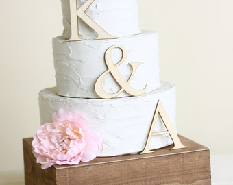 Personalized Cake Topper Wood Initials Rustic Chic Country  Barn Decor (140303)