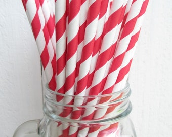 25 Candy Apple Red and White Striped Paper Straws