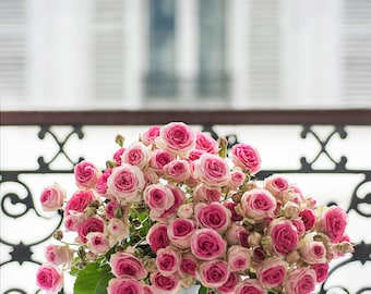 Paris Photograph - Roses on a Paris Balcony, Fine Art Photograph, Romantic French Home Decor, Large Wall Art