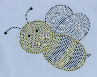 6.5 inch Bumble Bee rhinestone iron on transfer for bumblebee costume  WHOLESALE available