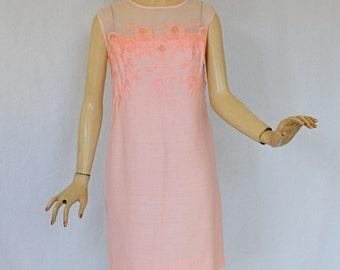 Vintage 60's Dress  Pink Embroidered Linen Dress Sheer Shoulders by Femme Fashions