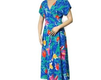 Vintage 1980's Dress Blue Flower Floral Day Dress Faux Wrap Midi Dress Full Skirt Dress Size 8