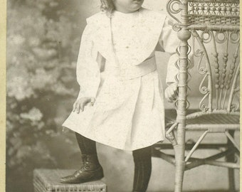 Lexington Kentucky Toddler girl Standing Wicker Stool Chair KY Cabinet Card Antique Black White Photo Photograph