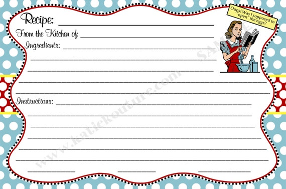 Printable- DIY Blue and Red Retro Recipe cards- Eggs- INSTANT DOWNLOAD