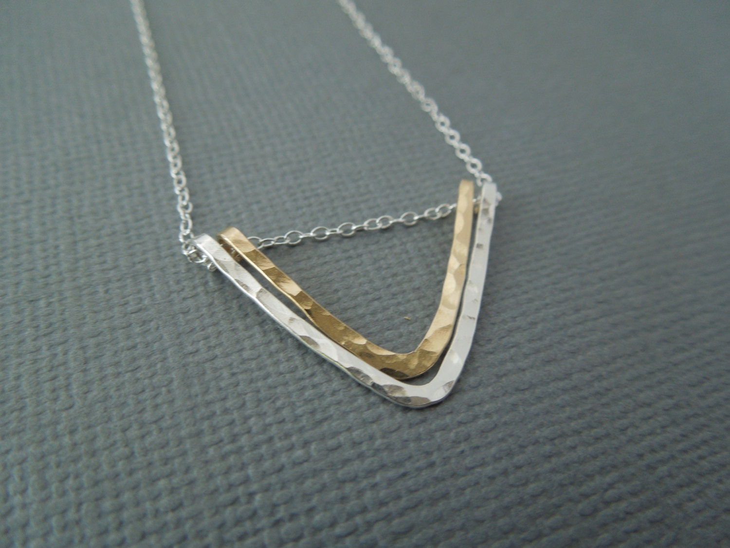 chevron necklace gold and silver mixed metals by greygoosegifts. Black Bedroom Furniture Sets. Home Design Ideas