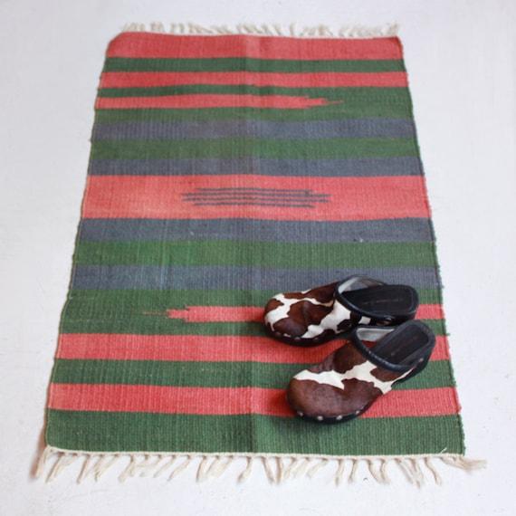 Vintage Wool Rug Navajo Style With Fringe SALE By CaesarPony