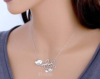 Mama bird necklace, bird family necklace, delicate branch charm sterling silver chain, 2 two baby birds, mom love kid jewelry, holidays gift