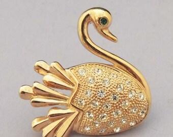 ROMAN Vintage Swan Brooch / Rhinestone Swan / Swan Pin / Signed Brooch