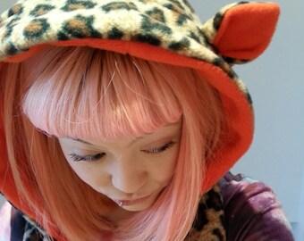 Leopard print cat Hood. Festval cat hood. Leopard print and orange hooded Scarf with Ears. Fleece hood with cat ears. Festival Hood.