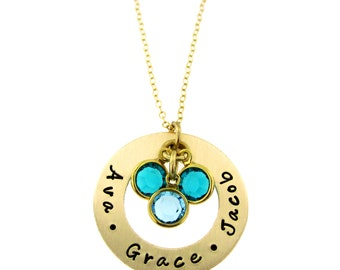 Golden Circle of Names I Love with Birthstone Crystals
