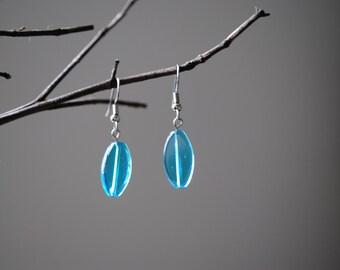Aqua glass bead earrings