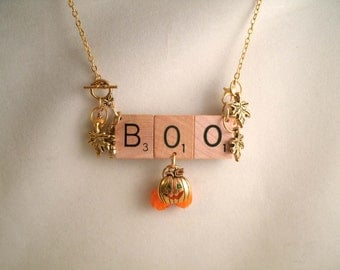 Boo Pumpkin Scrabble Tile  Necklace and Brooch in one Pendant with Leaf charms  Lamp Work glass Pumpkins