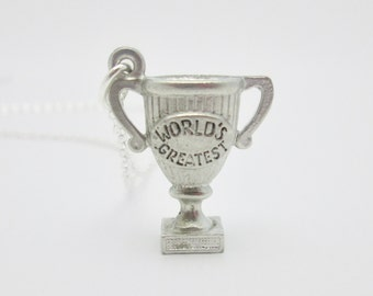 Silver Trophy Necklace - World's Greatest (A024). Three Dimensional Trophy Pendant with Inscription