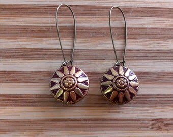 carole vintage button upcycled earrings