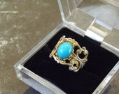 Vintage Adjustable Faux Turquoise Filigree Open Work Ring