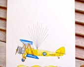 X-Small Airplane Fingerprint Guest book, Hand painted Biplane with balloons 2 colors, Custom Order