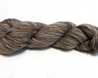 SALE - Hand-Dyed Lace Weight Yarn for Knitting, Crocheting or Weaving - Taupe Grey - approx 400 yards