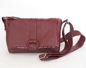 Small Leather Crossbody Bag : Everyday Slouchy Maroon Festival Bag