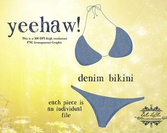 Clipart, Clipart bikini, Denim bikini Clipart