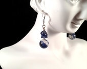 Vintage, Blue/White Pendant Earrings : E101